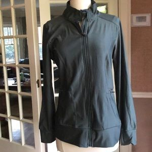 Almost new workout jacket in sultry moss green